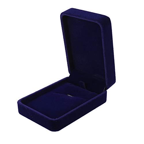 faddy-1 Velvet Necklace Pendant Box Jewelry Gift Box Necklace Bracelet Pendant Display Storage Case Organizer Wedding Jewellery Display Stand(Navy blue)