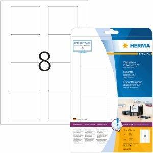 HERMA Disketten-Etiketten weiß 3,5 70x67,7mm Special A4 VE=200 Stück