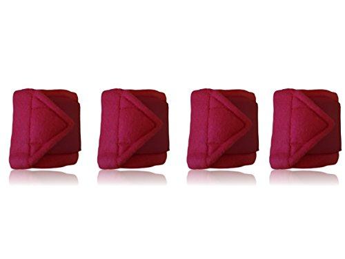 Bandagen für Pferde weiche und rutschfeste Fleecebandagen mit Klettverschluss im 4er Set (215 cm x 7 cm, Rot)