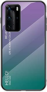 Case for Huawei P40 Pro Case,Gradient Clear Tempered Glass Cover Case Compatible with Huawei P40 Pro-Gradient Purple