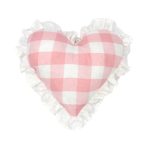 FYJS Fundas de Almohada para sofá, Almohadas con Volantes de corazón de Amor Estilo Victoriano Shabby Chic, Almohadas de celosía con Relleno, Almohada Decorativa para sofás de Dormitorio, Rosa
