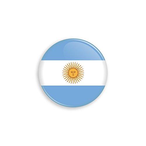 Button mit Argentinien Flagge als Anstecker mit Nadel oder Magnet als Auswahl, 38 mm Durchmesser – Für Fußball WM, Themen Partys und Feiern oder als Geschenk - Magnet