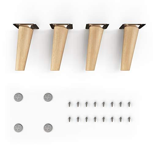 sossai® Holz-Möbelfüsse - Clif   Öl-Finish   Höhe: 12 cm   HMF2   rund, konisch (schräge Ausführung)   Material: Massivholz (Buche)   für Stühle, Tische, Schränke etc.