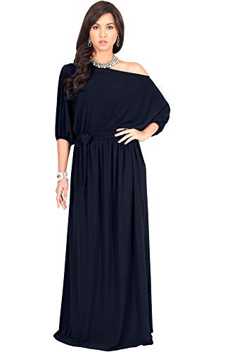 KOH KOH Plus Size Womens Long Sexy One Off Shoulder Flowy Casual 3/4 Short Sleeve Cocktail Wedding Party Guest Maternity Gown Gowns Maxi Dress Dresses, Navy Blue XL 14-16