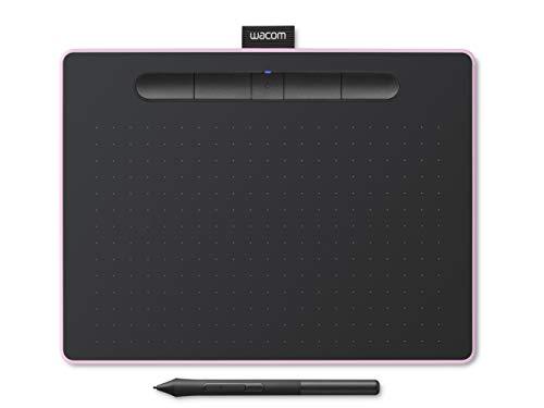 Tablet Wacom Intuos M con Bluetooth, tableta gráfica inalámbrica para pintar, esbozar y retocar fotografías con 5 versiones de software creativo para descargar, color rosa