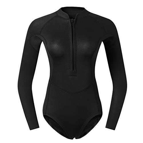 perfk Frauen Neopren Badeanzug Einteiliger Schwimmanzug Langarm Neoprenanzug Tauchanzug Surfanzug Figurformend Bademode - Schwarz XL