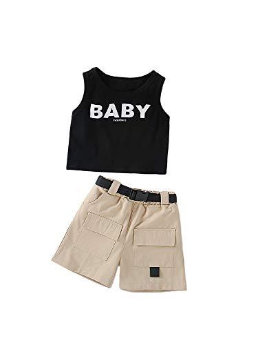 nvIEFE Conjunto de chaleco de verano para niñas con estampado de letras, cuello redondo y pantalones cortos con cinturón y bolsillo, trajes casuales de 2 piezas para fiestas de vacaciones diarias
