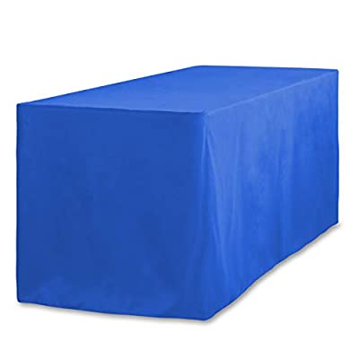 LinenTablecloth 4 ft. Fitted Polyester Tablecloth Royal Blue