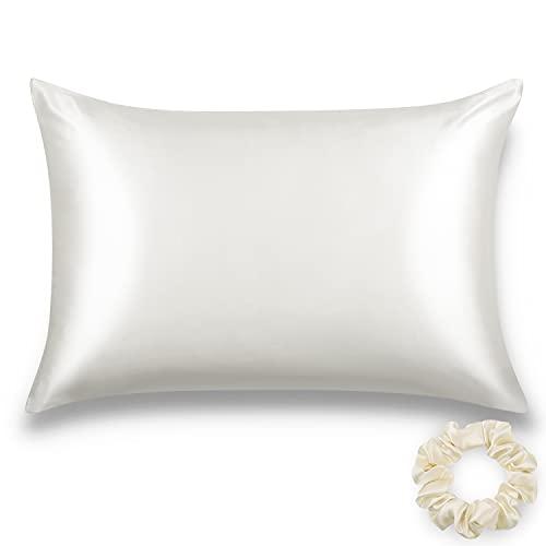 ALASKA BEAR Silk Pillowcase for Hair and Skin Beauty Sleep 100 Percent Premium Mulberry Silk Pillow Slip Case King Size with Zipper (1pc, Natural White)