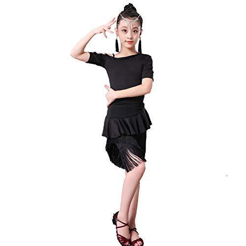 JIE. SXRTLNiñas de Baile Latino Traje Flecos Muchachas de la Falda de Manga Corta de América Dividir Ejercicio de Ropa Trajes de Las Muchachas de Competencia Forma,Black Skirt Suit,130cm