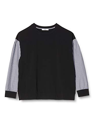 Amazon-Marke: find. Damen Sweatshirt mit gestreiften Ärmeln, Schwarz (Black), 42, Label: XL
