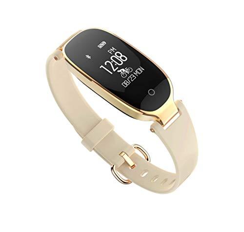 Tedbear Reloj inteligente Inalámbrico Banda inteligente Mujeres Señoras Pulsera Monitor de ritmo cardíaco Gimnasio A prueba de agua Reloj inteligente Pulsera Oro