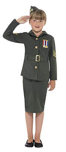 Smiffys kinderen WW2 leger meisje kostuum, jas, rok, bijgevoegde riem en hoed, Maat: L, Kleur: Khaki Green, 41104