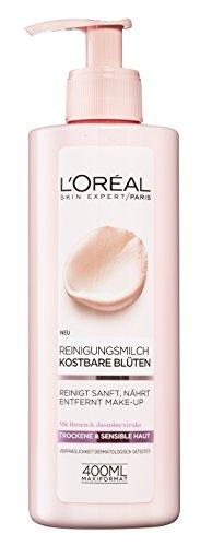 L'Oréal Paris Gesichtsreinigung, Reinigungsmilch zur Entfernung von Make-up, Mit Rosen-und Jasminextrakt, Auch für sensible Haut geeignet, Kostbare Blüten, 1 x 400 ml