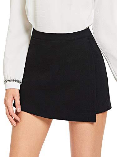 SheIn Women's Casual Asymetric Hem Wrap Skirts Shorts Plain Skorts Medium Black