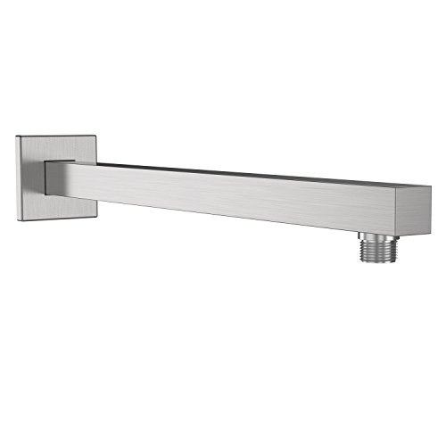 EMBATHER Extra Long and Thicken Brass 16 Inches Shower Extension Arm,Brushed Nickel Universal Shower Straight Wall-Mounted Shower Arm with Flange for 10/12/16/18 Bathroom Rainfall Showerhead