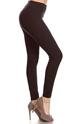 EP128-3X5X-Brown Basic Solid Leggings, 3X5X