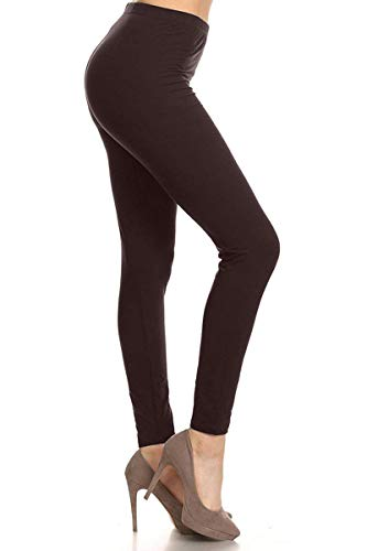 EP128-3X5X-Brown Basic Solid Leggings, 3X5X