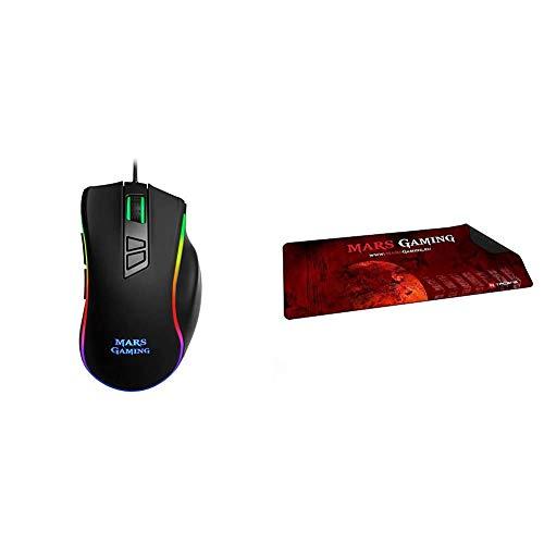 Mars Gaming MM318 - Ratón PC, 24000DPI, óptico, botón Snipe, RGB, Grip magnético + MMP2 - Alfombrilla de ratón para Gaming (Alta precisión con Cualquier ratón, Base de Caucho Natural, Alta Comodidad)