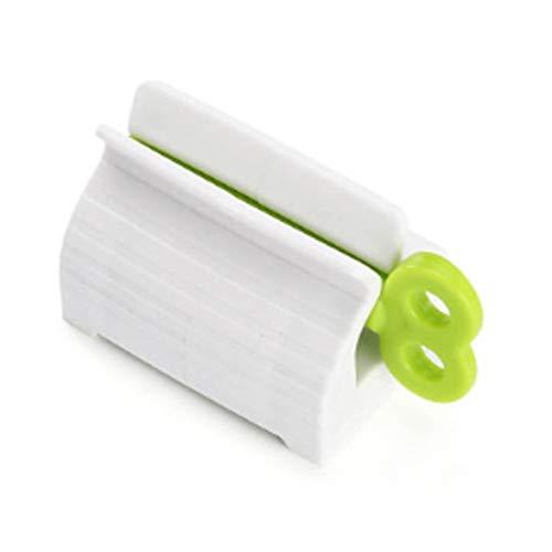 Logicstring Soporte de plástico para asiento de pasta de dientes, universal, 2 tipos de tubo y clips de pasta de dientes portátiles simples para accesorios de baño, color verde