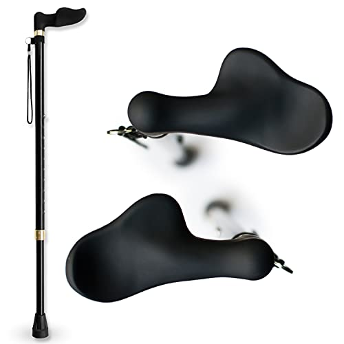 RMS Right Hand Walking Cane with Palm Grip Orthopedic Handle - Adjustable Offset Cane to Fit Individual's Palm Naturally - Ideal for Anyone with Arthritis or Carpal Tunnel Syndrome (Right Hand)