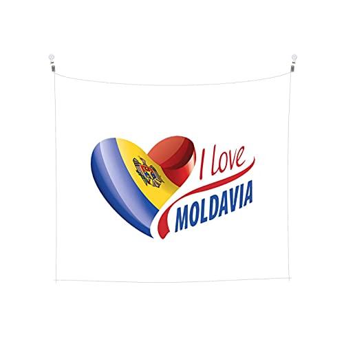 Wandteppich mit Flagge, Moldawien, Wandbehang, Boho, beliebt, mystisch, Trippy, Yoga, Hippie, Wandteppiche für Wohnzimmer, Schlafzimmer, Wohnheim, Heimdekoration, schwarz & weiß, Stranddecke