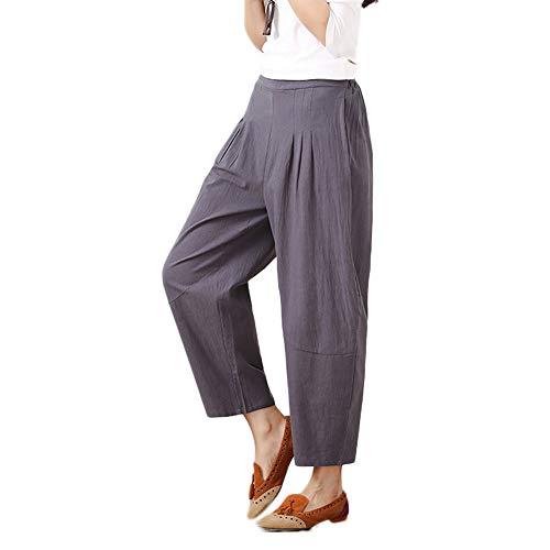 Dorical Damen Hose, Beiläufig Baumwolle Beiläufig Breit Bein Hohe Taille Harem Tasche Solide Kalb Länge Hose für Frauen Große Förderung(EU 34/CN M,Grau)