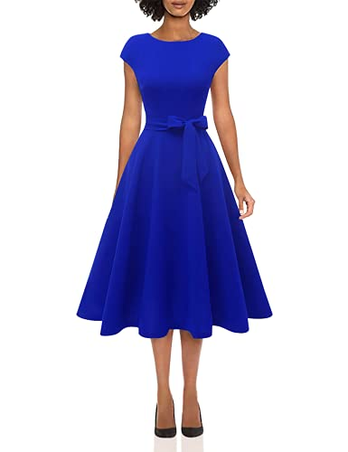 Women Casual Tea Dress Aline Swing Vintage Cocktail Dresses, Women's Wear to Work Dresses, Modest Church Formal Dress, Flared Bridesmaid Dress for Homecoming RoyalBlue M