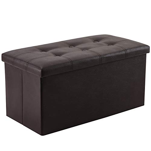 YOUDENOVA 30 inches Folding Storage Ottoman, 80L Storage Bench for Bedroom and Hallway, Faux Leather Brown Footrest with Foam Padded Seat, Support 350lbs