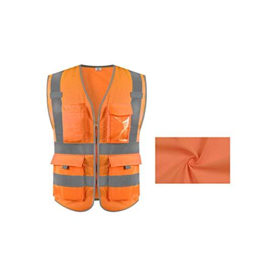 V-cuello Traje reflectante, Tejido de punto transpirable chaleco reflectante de seguridad con bolsillo con cremallera de alta visible luz de tira Chalecos de seguridad ( Color : Fluorescent orange )