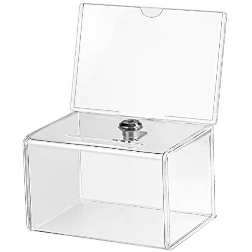 MaxGear Acrylic Donation Box with Lock and Sign Holder, Clear Ballot Box Donation Boxes for Fundraising (6.25