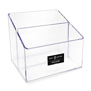 Isaac Jacobs Clear Acrylic 2-Section Organizer Remote Holder & Multi-Functional Makeup Brush Pen & Pencil Storage Solution for The Home Bathroom Office Child's Desk  2-Section Clear