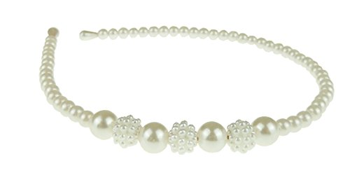 Mesdames filles fausse perle mariée demoiselle d'honneur étroit bandeau Alice bande 3 grappes