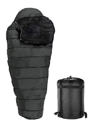 RhinoKraft Sleeping Bag for Men and Women (Nylon_Black)