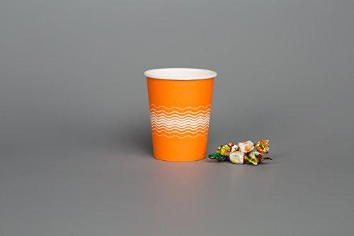 GeenFeel 200 x 8 oz 12 oz SINGLE Muur PAPER CUPS ORANGE WAVE Party Thee Koffie Koude warme dranken Neem weg Zomer Feest BBQ Picknick Outdoor Reizen