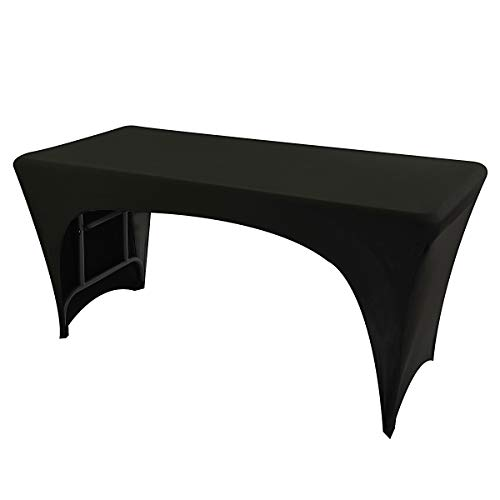 Iceberg 16541 Spandex Open-Sided Fabric Table Cover, 6', Black