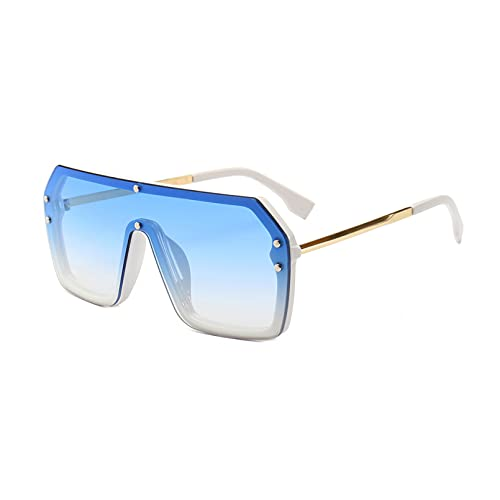 LUOXUEFEI Gafas De Sol Gafas De Sol Cuadradas Hombre Rojo Amarillo Azul Gafas De Sol De Gran Tamaño Mujer