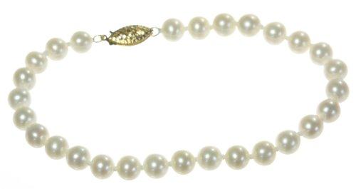 Bracciale da Donna in Oro giallo 9k (375) Perle coltivate cinesi 6.0-6.5mm Crema - 19cm