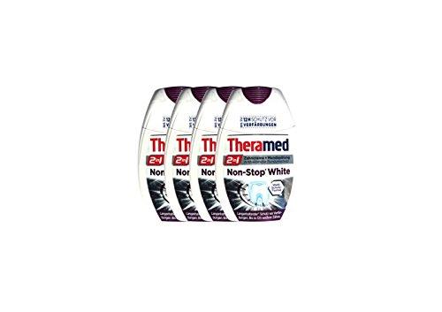 4x Theramed Non-Stop White Antibakterieller-schutz 2 in1 Zahncreme Mundspülung