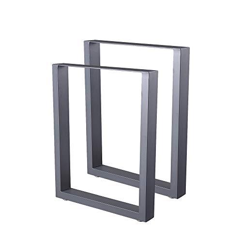 Zelsius Tischbeine Tischkufen Tischgestell 2 Stück Metall Kufen Rohstahl oder Grau I verschiedene Größen I Industrie ((B) 60 x (H) 72 cm, Grau (Pulverbeschichtung))