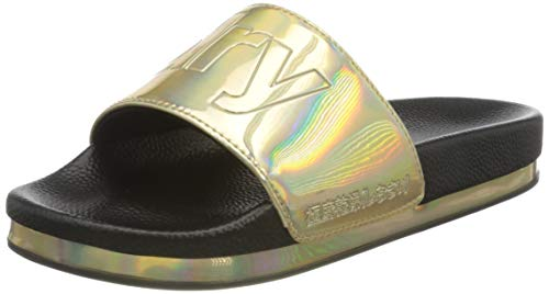 Superdry Damen Arizona Flatform Slide Pantoffeln, Gold (Black Holographic ET9), 38/39 EU