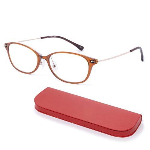 MIDI-ミディ おしゃれ 老眼鏡 MIDIポケット 14mmの極薄メガネケースに収納 ブルーライトカット 紫外線カット レディース 軽量 アンバー (MP-01,C3,+0.75