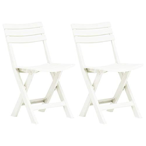 Extaum Klappbare Gartenstühle 2 STK Bistrostühle Balkonstühle Terrassenstuhl Klappstühle Kunststoff Weiß 44 x 41 x 78 cm Witterungsbeständig