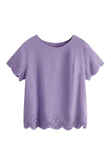 SheIn Women's Casual Round Neck Summer Short Sleeve Scallop T-Shirt Top Blouse Purple Large