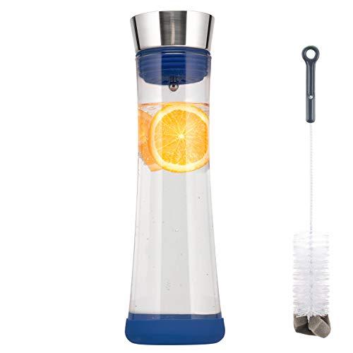 bremermann Glaskaraffe Carola mit Silikonfuß - zerlegbarer Deckel - 1 Liter (Blau)