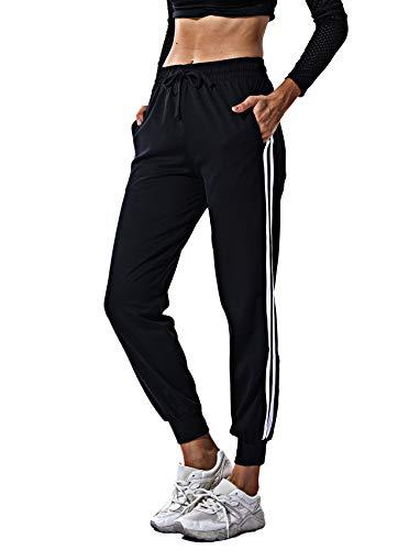 RIOJOY Women's Casual Athletic 2-Stripe Jogger Pants Drawstring Waist Sweatpants Tracksuit Bottoms with Pockets, Black, XL