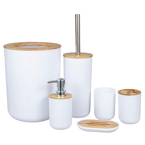 Tongdejing Bambus Holz Badezimmer Zubehör Set, 6 cs Geschenkset Toilettenbürste, Seifenspender, Abfalleimer, Zahnbürstenhalter, Seifenschale Becher Set