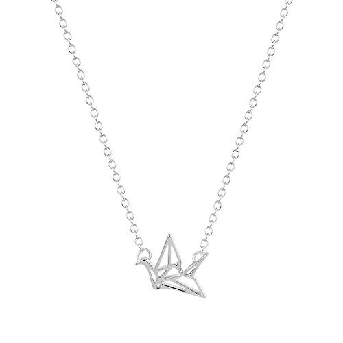 SoulSisters Lieblingsschmuck Origami - Collar corto bañado en plata en estilo minimalista Crane
