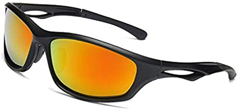 Polarized Sports Sunglasses for Men Women Youth, UV Protection Lightweight Cycling Driving Running Fishing Golf Bike Motorcycle Eyewear (black-orange yellow)