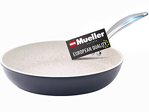 Mueller HealthyStone 12-Inch Fry Pan, Heavy Duty Non-Stick German Stone Coating Cookware, Aluminum Body, Even Heat Distribution, No PFOA or APEO, EverCool Stainless Steel Handle, Grey